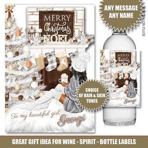 Personalised CHRISTMAS Bottle label Gin Wine Vodka Secret Santa Xmas Party 176