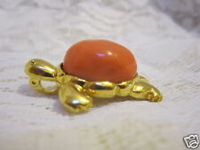 Kenneth Jay Lane Retired Coral Turtle Brooch/Pendant Gorgeous