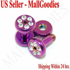 0968 Hot Pink Purple Screw-on/fit CZ Flesh Tunnels 10 Gauge 10G Ear Plugs 2.5mm