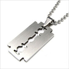 Razor Blade Necklace Silver Stainless Steel Pendant Necklace 60cm Chain