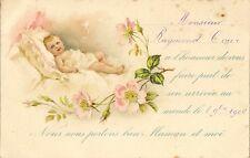 CARTE POSTALE FANTAISIE FAIRE PART DE NAISSANCE ENFANT BEBE FLEURS