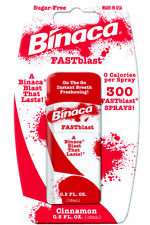 6 x BINACA FASTBLAST (Cinammon) -  Fresh Breath Spray Blasts Away Bad Breath