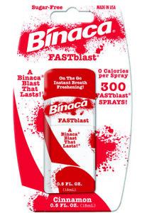 12 x BINACA FASTBLAST (Cinammon) -  Fresh Breath Spray Blasts Away Bad Breath