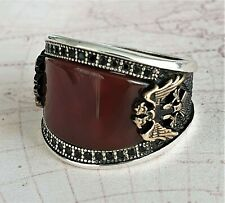 Eagle Ottoman Red Agate  Gemstone Solid 925 Sterling Silver Mens Ring Gemstone