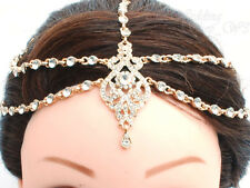 DIAMANTE KUNDAN HAIR CHAIN GOLD HEAD PIECE HIJAB WEDDING MATHA PATTI TIKKA MP21