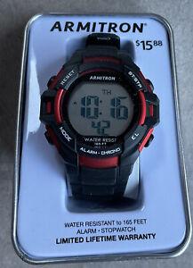 ARMITRON ProSport:  Black & Red Case-Bezel/Digital/Black Band/Unisex 40/8372 S2