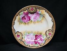 Old Vintage Hand Painted Art Pottery Plate Pink Roses Yellow w Gold Trim Japan