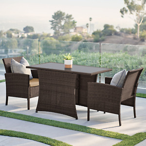 BELLEZE Miramar 3 Pieces Patio Furniture Dining Set All-Weather Wicker Dining Ta