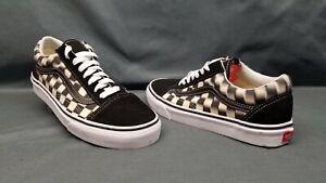 Vans Men's Old Skool Blur Check Casual Sneakers Black White Size 8.5 NWOB!
