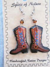 Spirit of Nature  Southwestern Cowboy Boot earrings brown with crosses