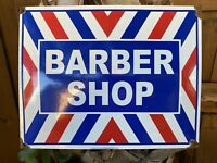 VINTAGE BARBER SHOP PORCELAIN METAL SIGN USA MENS HAIR CUT SALON OIL GAS STATION