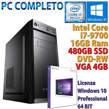 PC COMPUTER DESKTOP GAMING INTEL CORE i7-9700 RAM 16GB DDR4 SSD 480GB RX 550 4GB