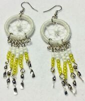 Dream Catcher White Stainless Steel Earrings