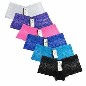 6-Pack Women's Lace Boyshorts Bikini Panties Sexy Boy Shorts Panty Underwear