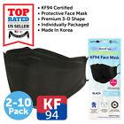 2-10 PCS KF94 BLACK Face Protective Mask Made in Korea KFDA Approved Adult Size
