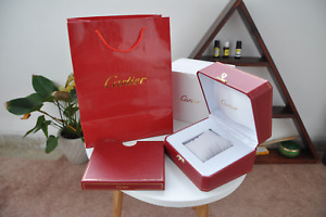 Cartier Wooden Red Watch Box case Luxury Vintage Storage RARE Booklet Pillow ♚♚