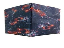 Duct Tape Wallet with Orange skulls Design on the Front Handmade