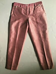 New D&G DOLCE & GABBANA Womens Pink Silk Cotton Slim Trouser Sz 40  US 4 Italy