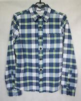 MEN'S 'ABERCROMBIE & FITCH' MUSCLE FIT BLUE GREEN CHECK SHIRT sz S SMALL VGC