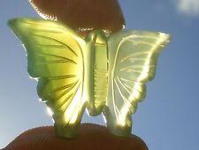 "Cabochon ""Papillon Morpho"" en Agate Verte Lumineuse Artisanal  22,5 cts (Brésil)"