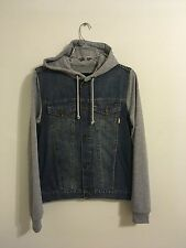 ASOS HOODED DENIM JACKET WITH SWEATSHIRT ATTACHED SIZE X-SMALL