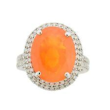 Mexican Fire Opal 18k White Gold Double Halo Diamond Gemstone Cocktail Ring