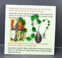 New SAINT JUDE CHAPLET PRAYERS Rosary Shrine GREEN BEADS Short Style CRUCIFIX