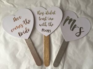 Personalised Foiled Wedding paddles signs fans here comes the bride Mr & Mrs etc