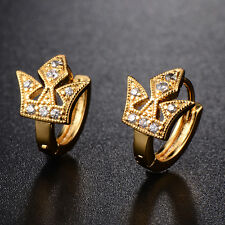 Fashion Womens 18K Gold Plated Spear CZ Stud Earrings Fit Girls Charm