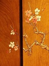 4-panel, limited edition, solid wood hand painted screen. 20th Century. Signed