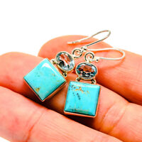 "Arizona Turquoise, Blue Topaz Sterling Silver Earrings 1 1/2"" Jewelry E411114F"
