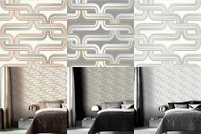 Geometric Wallpaper Arthouse Retro Orange Grey Silver Yellow Luxury Quality