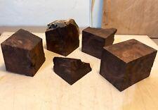 "AMBOYNA BURL BLOCKS lot of 5 pieces, 2"" X 2"" squares, short"