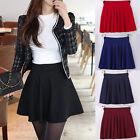 Womens Cotton Vintage Stretch High Waist Plain Skater Flared Pleated Skirt Dress