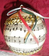 Vintage Plastic Ornament - Ball w/Musical Note Background, Trim & Bow