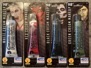 4 Tubes of Cream Stage Makeup Halloween 1 oz each White Red Green & Black