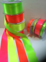 Berisfords NEON FLUORESCENT D/S Satin Ribbon - HI-VIZ - 4 Shades 3mm to 70mm