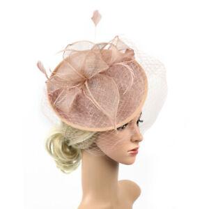 Sinamay Hut Feder Stirnband Fascinator Schleier Hochzeit Royal ascot pink
