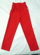 Red pants rayon  polyester pockets derrieres , button, front pockets
