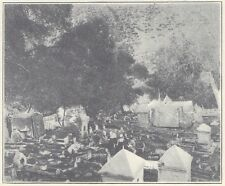 G0837 Africa - Un cimetière musulman - Stampa d'epoca - 1923 old print