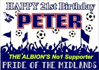 West Brom Birthday Poster Banner | Boy Girl | Personalised Name Football |TP203
