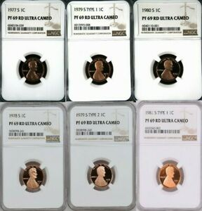 1977-1983 S Proof Lincoln Penny NGC PF 69 ULTRA CAMEO - 8 Coin Set