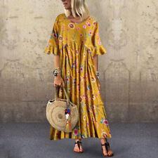 ZANZEA Women Round Neck Short Sleeve T-Shirt Floral Print Long Shirt Dress Plus