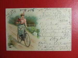 AK Ansichtskarte Postkarte, All Heil, Frau auf Fahrrad, Litho Plön 1899