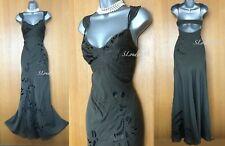 Size 10 KAREN MILLEN Khaki Silky Cotton Embroidered Open Back Long Maxi Dress 38