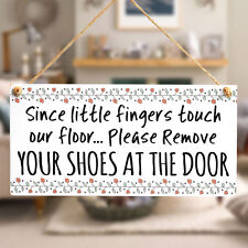 Since Little Finger Touch Our Floor - Handmade Entrance Door Sign Poppy Floral