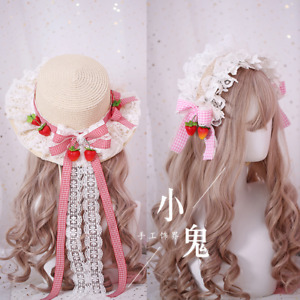 Lolita Hair Accessories Strawberry Sweet Japanese Kawaii DIY Cap Hat Headband#