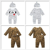 Infant Baby Boys Girls  Long Sleeves Cartoon Romper Jumpsuits + Hat Set Outfits