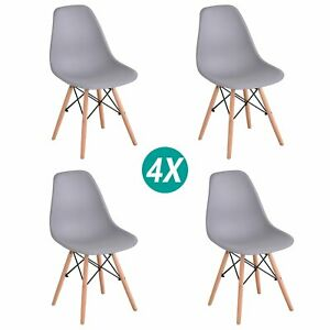 Set of 4 Dining Eiffel Chairs Retro Wooden Legs Office Kitchen Lounge Chair Grey