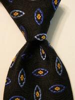 ROBERT TALBOTT Men's Silk/Cotton Necktie Luxury Geometric Black/Blue/Yellow EUC